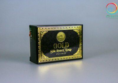 ผลงานปั๊มเคทองกล่อง Silk Honey Soap