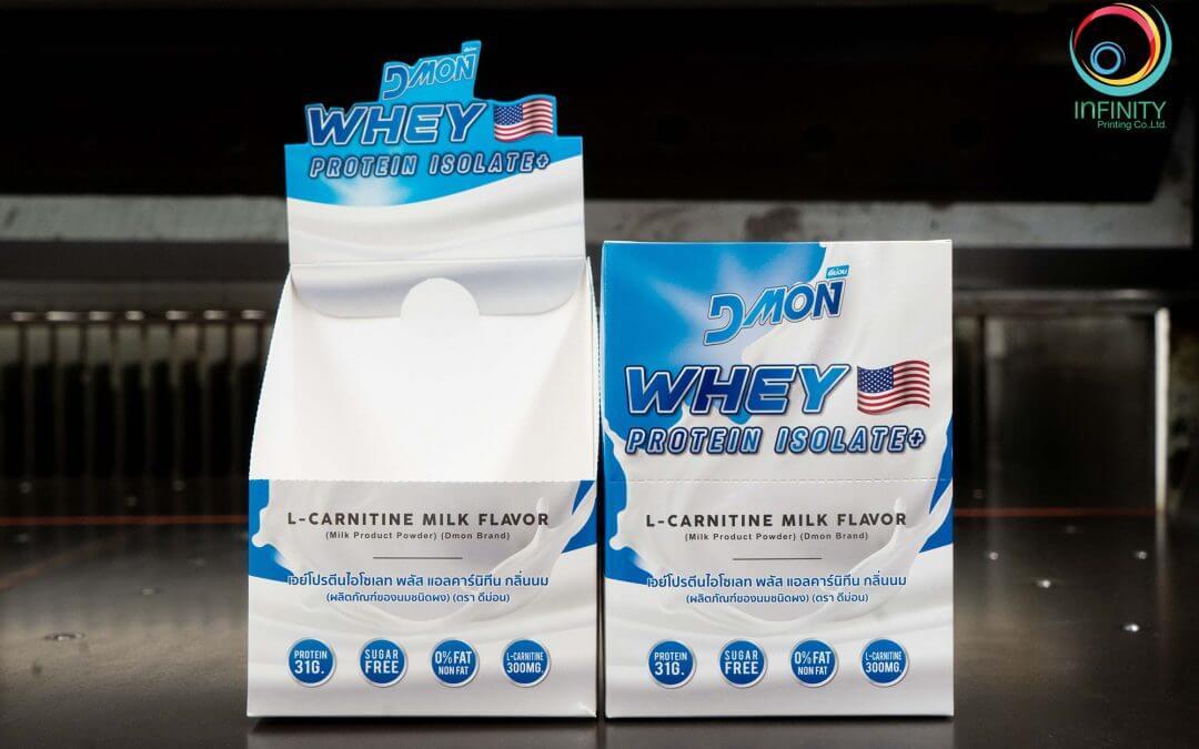 กล่องบรรจุภัณฑ์ DMON WHEY PROTEIN ISOLATE+ กลิ่นนม